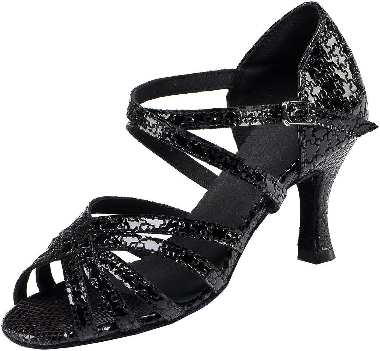 TDA Women's Ankle Strap Leather Mid Heel Salsa Tango Ballroom Latin Modern Dance Wedding shoes