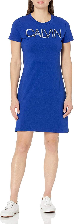 Calvin Klein NEW before selling Women's Short Calvn Sleeve Dress Albuquerque Mall Logo