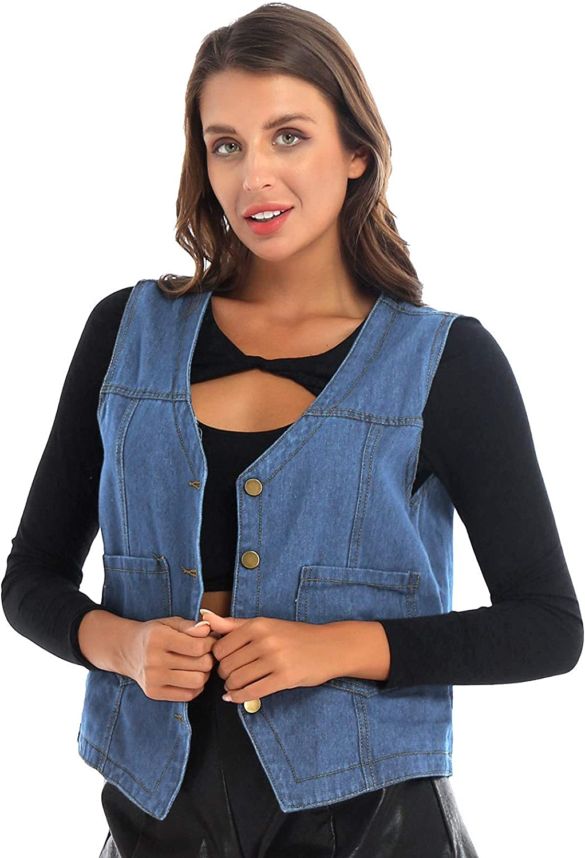 WinChang Women's Denim Waistcoat Tops Vest Sleeveless Jacket with Pocket Outerwear