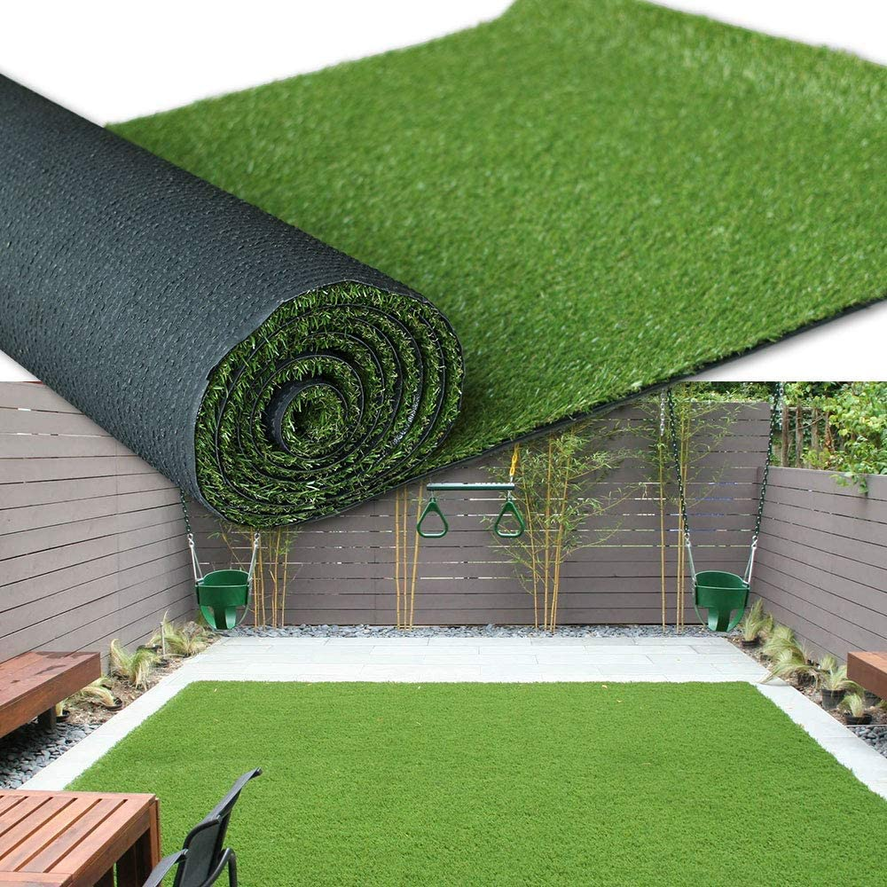 Premium Synthetic Artificial Grass Turf 1.38inch Pile Height 7FTX15FT, High Density Fake Faux Grass Turf, Natural and Realistic Looking Garden Pet Dog Lawn