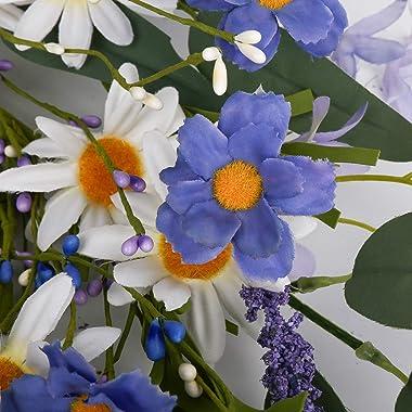"Artificial Flower Wreath,20"" Violet Daisy Wreath Blue White Flower Wreath Spring/Summer Wreath, Suitable for Front Door Indoo"
