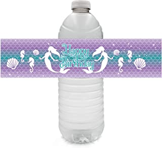 Mermaid Birthday Party Water Bottle Labels - 24 Stickers