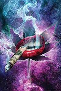 High As Space by Daveed Benito Lips Smoking Marijuana Weed Cannabis Room Dope Gifts Guys Propaganda Stoner Reefer Stoned Sign Buds Pothead Dorm Walls Cool Wall Decor Art Print Poster 24x36