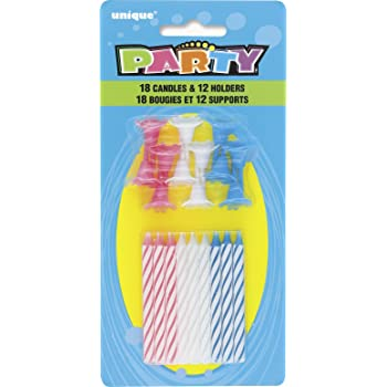 30pc Unique 7902 Striped Birthday Candles with Holders