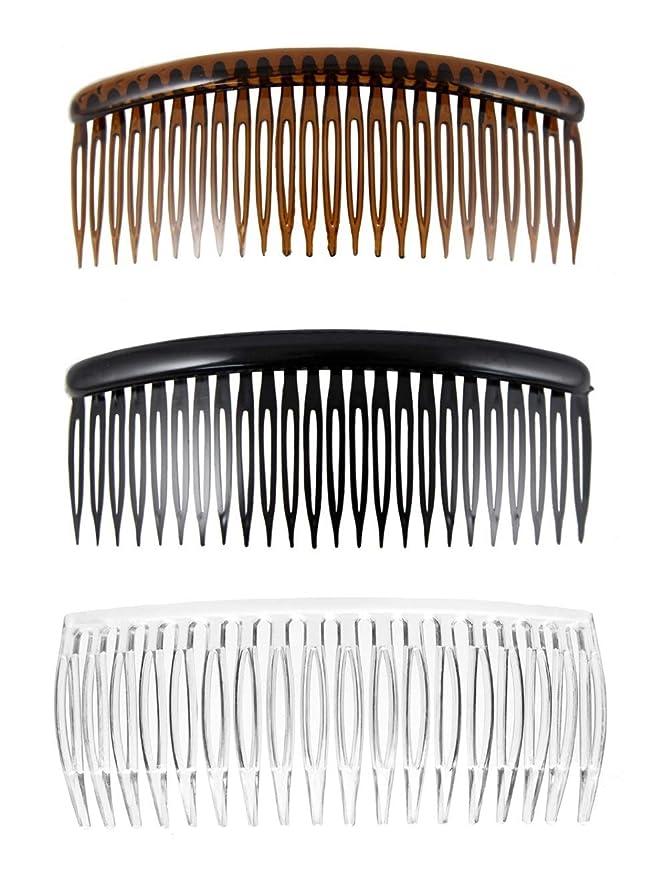 Set of 3 Large Black Tort Clear Plain Hair Combs Slides 12cm (4.7