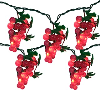 5 Purple Grape Cluster String Lights - 6ft. Green Wire
