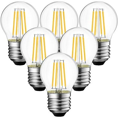ANWIO 4W Ampoule LED Filament E27 G45, 470 lumens Equivalente à Ampoule Halogène Vintage 40W, 2700K Blanc Chaud, Non réglable, Lot de 6