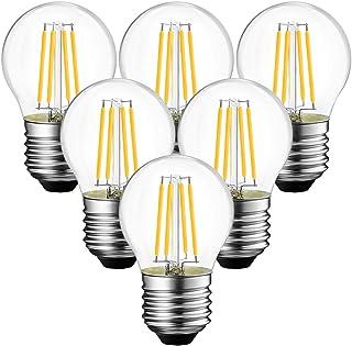 6x 4W Bombillas Vintage LED E27 (Casquillo Gordo), Bombilla Edison con Filamento de 470 Lúmenes, 2700K Blanco Cálido, G45 Golf Bombillas Retro Decorativa Equivalente a 40W - ANWIO.