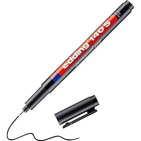 edding 140 S feutre permanent - noir - 1 stylo - pointe ronde 0,3 mm - stylo pour écrire sur du verre, du plastique, des films et surfaces lisses - à séchage rapide, résistant aux taches et étanche