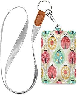 HMZXZ Porte-badge d'identification en cuir synthétique avec cordon détachable Motif coccinelle et fleur Pour femme homme p...