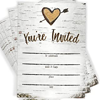 Birch Tree Bark Fill-in Party Invitations and Envelopes, Set of 25 Rustic Country Invites, All Occasions, Bridal Shower, Baby Shower, Rehearsal Dinner, Birthday Party, Anniversary