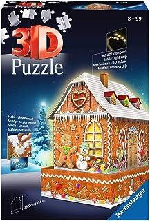 Ravensburger 11237 - 3D Pussel byggnader med ljus Ginger Bread House - 216 bitar - tredimensionell bygglädje & inget lim b...
