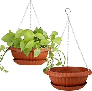 """2pcs Hanging Planters 10.63"""" Hanging Flower Pots Plastic Plant Hanger Holders Hanging Basket for Indoor Outdoor Garden Her..."""