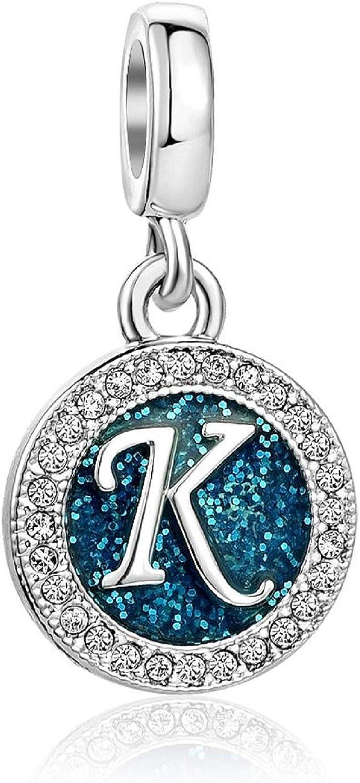 KunBead Letter Initial Blue Charms for Bracelets Alphabet Love Birthday Bead Charm for Women Girls Dangle Pendant Necklace