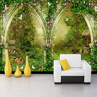 Afashiony HD Print Poster Wall Art Photo Wallpaper Rose Flower Vine TV Background Wall Cafe Pastoral Casual Style 3D Wall Mural Wallpaper for Living room-300cmx210cm
