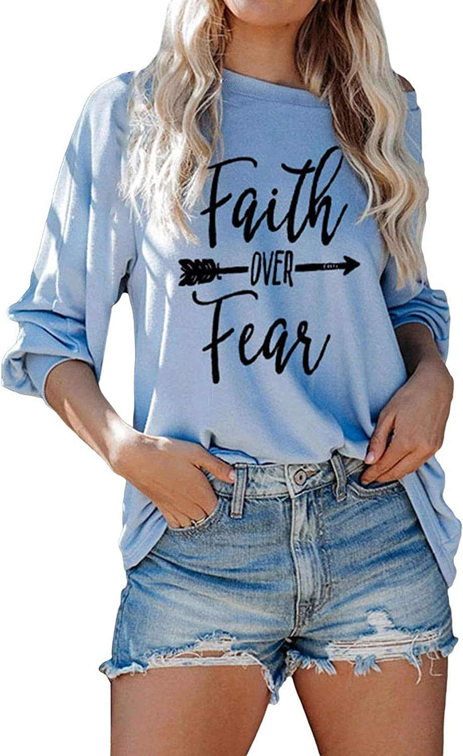 Women's Faith Over Fear Letters Printed Long Sleeve Tee Casual Solid Plus Size Tunic Loose Boat Neck T-Shirt Tops