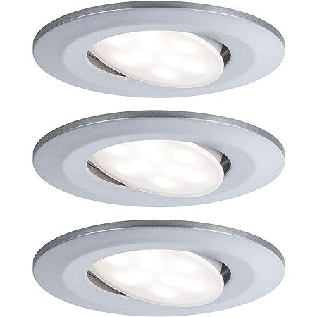 Paulmann 99933 Calla Lot de 3 Spots LED encastrables Ronds avec 3 x 6,5 W IP65 à intensité Variable, éclairage d'armoire, en Plastique, 4000 K, Mat chromé, 3er-Set