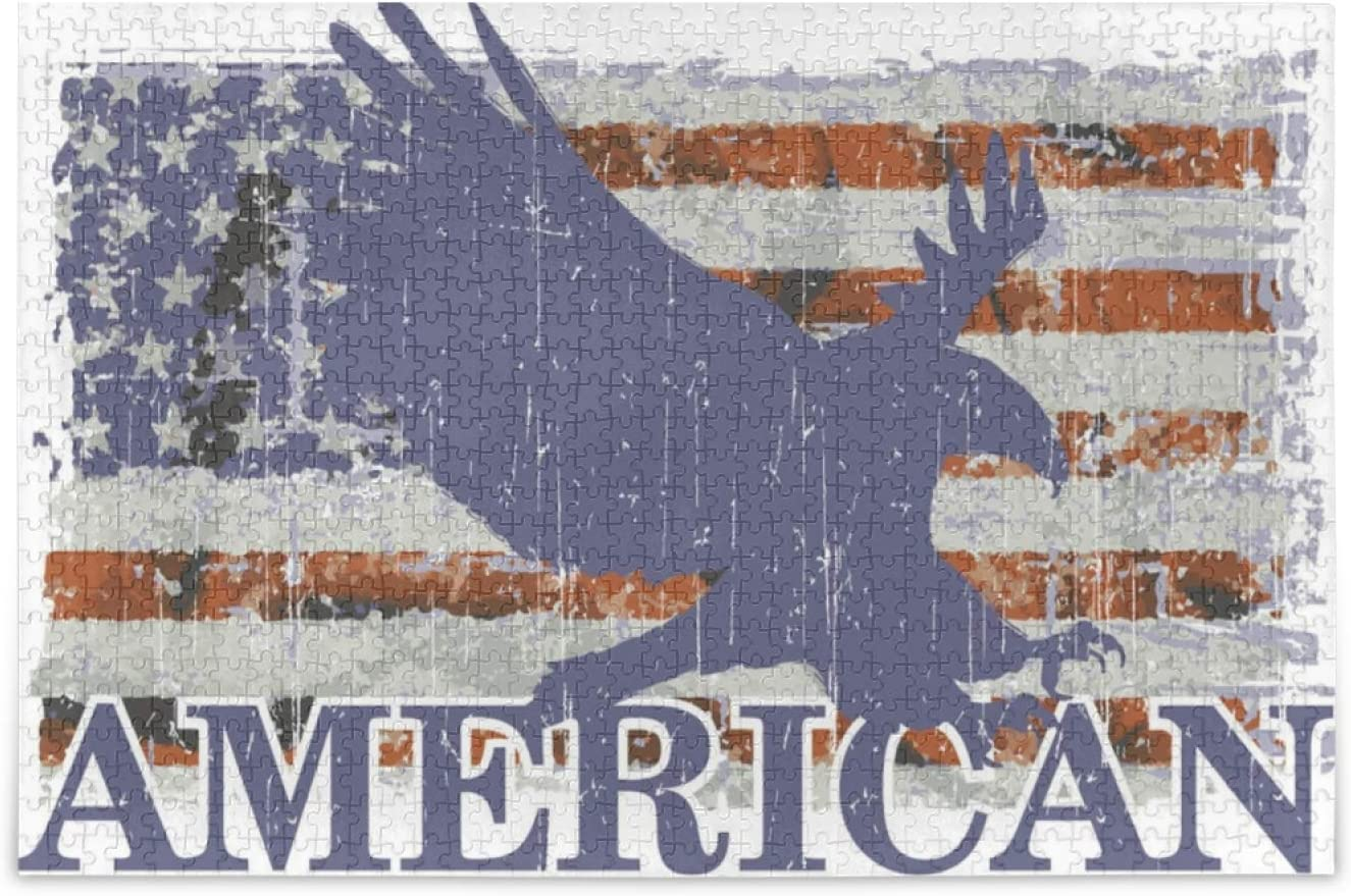 Patriotic American Flag Jigsaw 毎日激安特売で 安売り 営業中です Puzzles Pieces 1000 Adults for Te