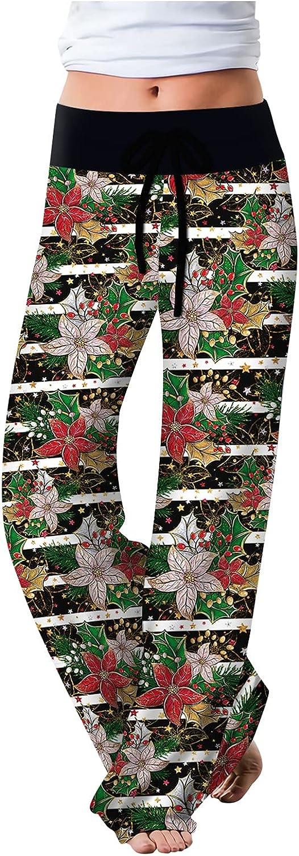 iCJJL Women's Christmas Pants Fashion Digital Print Lace-up Casu