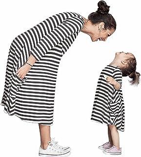 b7a3835760b3d Tomsent Mère et Bébé Fille Col Rond Boho Maxi Noir et Blanc à Rayures  Famille Vêtements