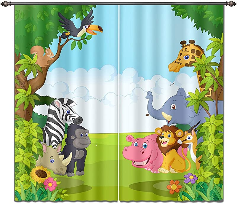 LB Cartoon Animals In Jungle House Decor Window Curtain Wildlife Forest Kids Boys Room Curtain Drapes Living Room Decoration Window Treatment 55x65 Inches 2 Panels Size