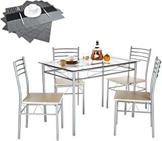 VECELO Dining Table Set with 4 Chairs [4 Placemats...