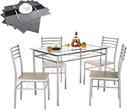 VECELO Dining Table with 4 Chairs [4 Placemats Included-] Silver