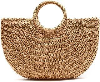 Lulu Dharma Women's Woven Half-Moon Tote Bag, Handbag, Wicker Tote, Top Handle Bag