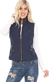 YourStyle USA Women's Padded Vest - Casual Stand Collar Lightweight Full Zip Up Quilted Suede Details Gilet Jacket