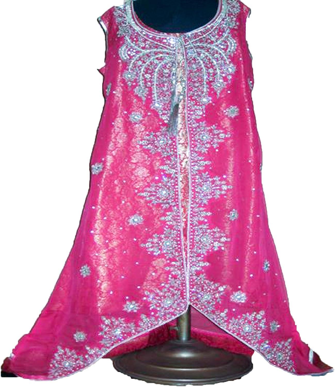 Women Fashion Bridal 3 Piece Jamavar Pink Pakistani Wedding Dress, Medium