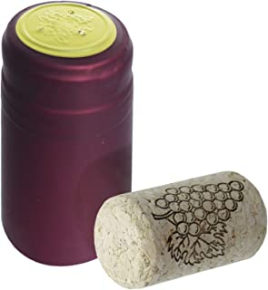 """Wine Bottling Pack - Includes 30 PVC Heat Shrink Capsules with Tear Tabs & 30#8 Straight Corks 7/8"""" x 1 3/4"""" (Burgundy)"""