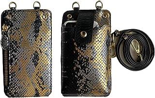 حقيبة ومحفظة من جلد ثعبان للجوال والنقود 2 في 1