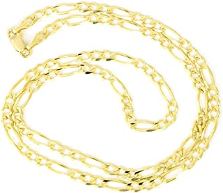 Unisex 14k Solid Yellow Gold Classic Figaro Chain Necklace