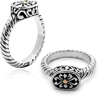 925 Sterling Silver and 18 Kt Yellow Gold Ring with Balinese Cable Motif and Flower for Women and Jewelry Gift, Stamp with 925 18K