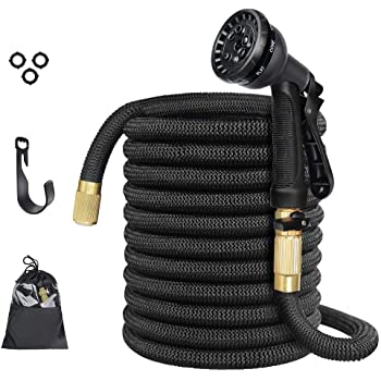 """Anteko Expandable Garden Hose, 50ft Strongest Expandable Water Hose, 8 Functions Sprayer with Double Latex Core, 3/4"""" Solid Brass Fittings, Extra Strength Fabric - Improved Expanding Hose"""