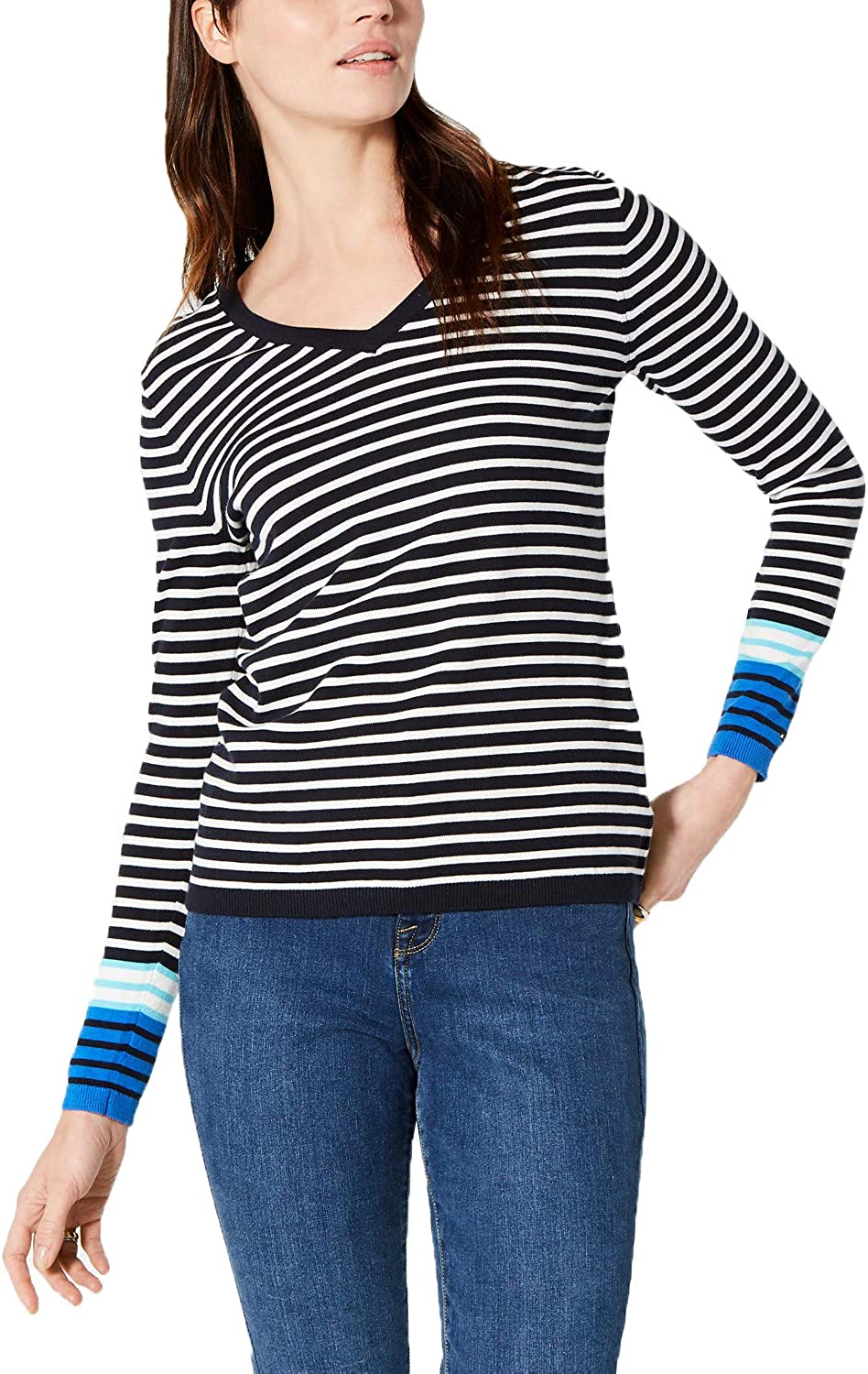 Tommy Hilfiger Womens Striped Animer and Cheap sale price revision Sweater Pullover