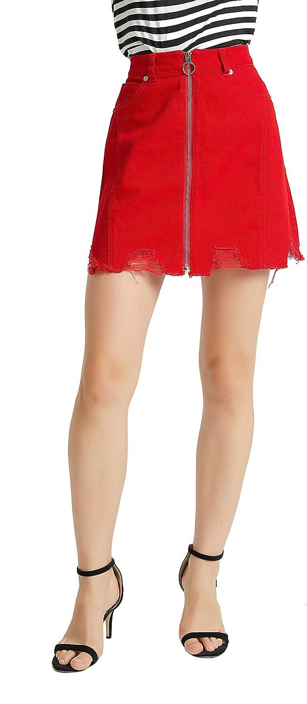 Tronjori Women's A Line Distressed Ripped Denim Skirt Frayed Hem Front Zip
