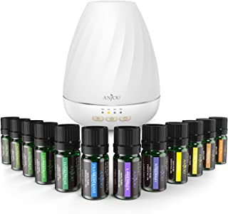 Anjou Aromatherapy Essential Oil & Diffuser Gift Set, 200 mL Tank & Top 12 Oils, Peppermint, Tee Tree, Lavender, Eucalyptus, Sweet Orange, Auto Off Humidifier - 7 Color LED Lights, Therapeutic Grade, Multicolor