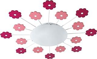 EGLO Lampe de Plafond Viki 1, 1 Lampe Murale à Flamme pour Chambre D'Enfant, Plafonnier en Acier, Couleur : Fuchsia, Verre...