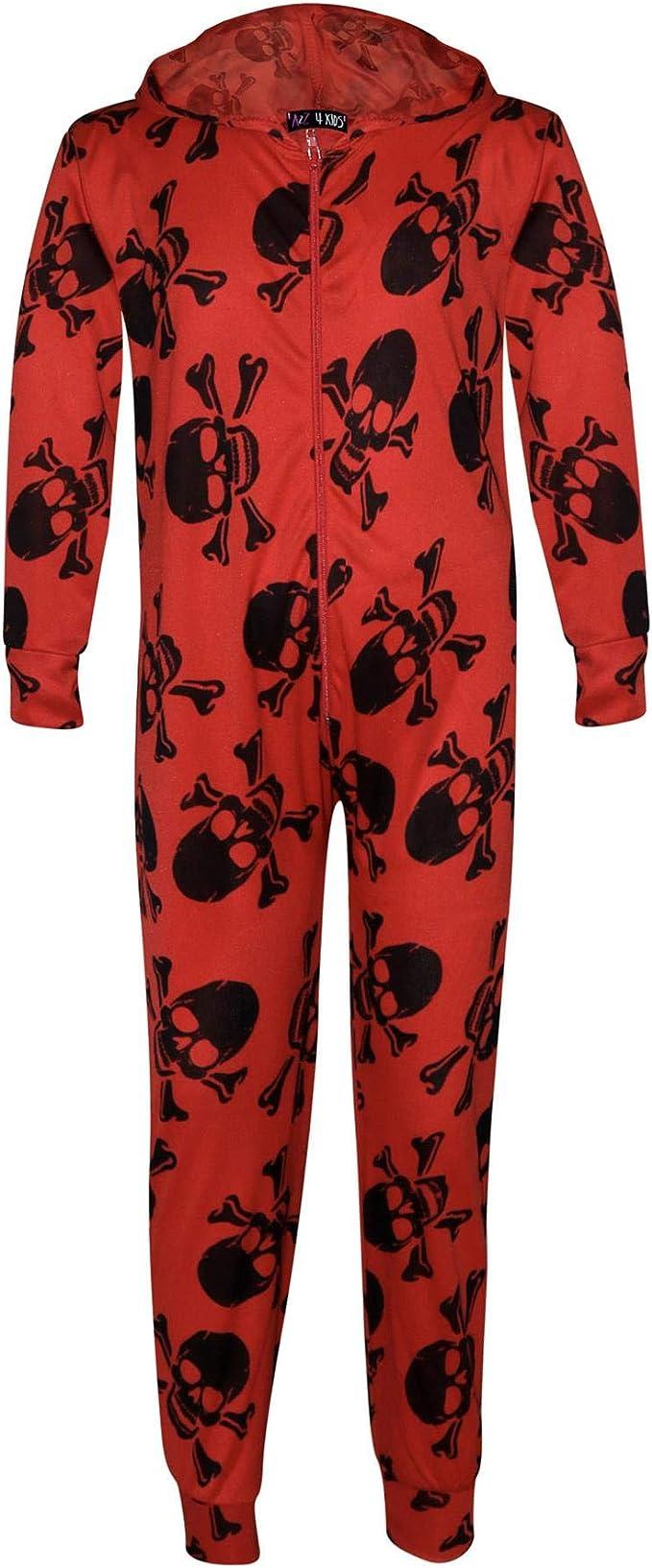 Kids Boys Girls Skeleton Print A2Z Onesie One Piece Halloween Costume 5-13 Years