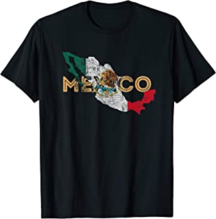 Mexican Map and Flag Souvenir - Distressed Mexico T-Shirt