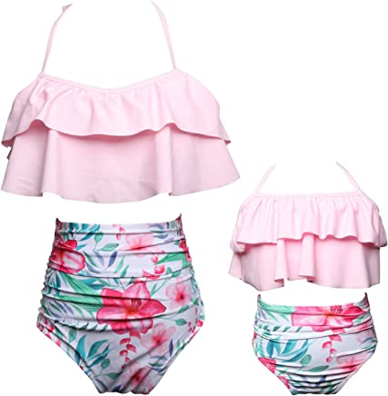 35447b362173b Qunlei Mommy and Me Swimsuits Family Matching Two Pieces High Waisted Bikini  Set for Women Girls