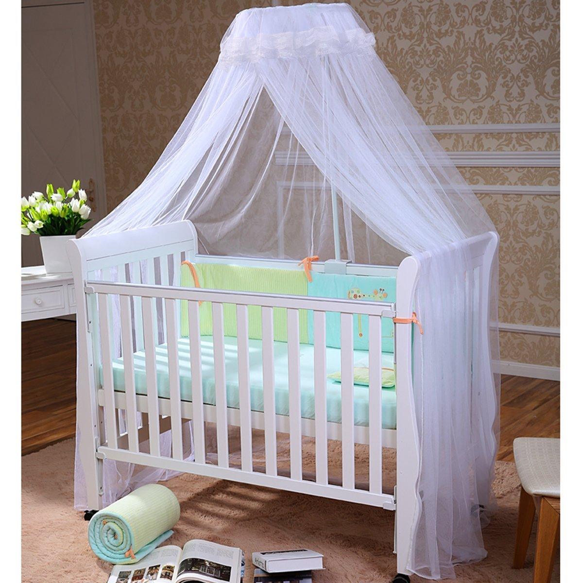 - FOXNOVO Baby Mosquito Net Baby Toddler Bed Crib Canopy Netting