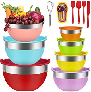 Mixing Bowls - Babyltrl Mixing Bowls Set, 18pcs Kitchen Tools Stainless Steel Nesting Mixing Bowls with Lids, Size 7, 6, 5...
