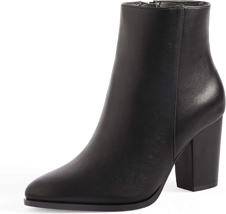 DREAM favorite PAIRS Women's Chunky Heel Block Ankle Booties 2021 model