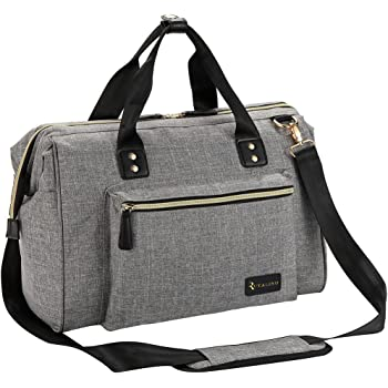 Diaper Bag, RUVALINO Large Diaper Tote Stylish for Mom and Dad Convertible Travel Baby Bag for Boys and Girls with Changing Pad, Insulated Pockets (Grey)