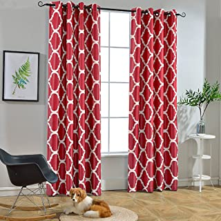 Melodieux Moroccan Fashion Room Darkening Blackout Grommet Top Curtains, 52 by 96 Inch, Red (1 Panel)