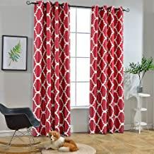 Melodieux Moroccan Fashion Room Darkening Blackout Grommet Top Curtains, 52 by 84 Inch, Red (1 Panel)
