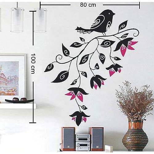 Decals Design 'Big Size Sparrow' Wall Sticker (PVC Vinyl, 60 cm x 45 cm, Black)