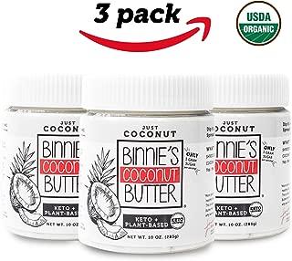 Binnie's Coconut Butter Organic Spread - Keto, Raw, Vegan, Low Carb, Non GMO - Just Coconut (3 Pack)